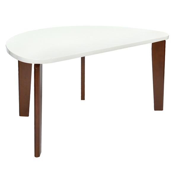 【送料無料】モダン ダイニングテーブル 4人掛け 【半円型 幅150cm】 ホワイト 木製脚付き 〔リビング 居間〕【代引不可】