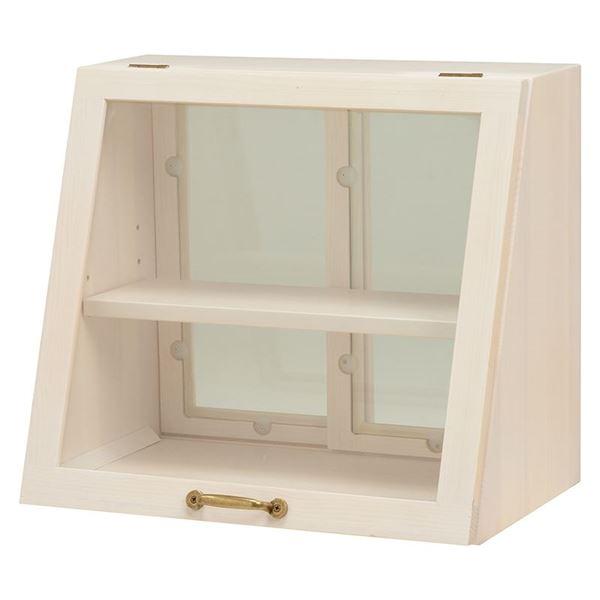 【送料無料】カウンター上ガラスケース(キッチン収納/スパイスラック) 木製 幅40cm×高さ35cm ホワイト(白) 取っ手/引き戸付き【代引不可】