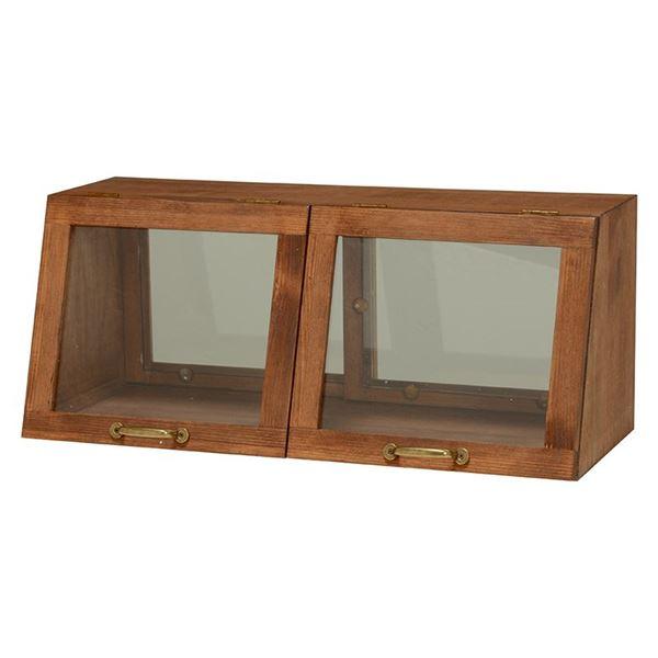 【送料無料】カウンター上ガラスケース(キッチン収納/スパイスラック) 木製 幅60cm×高さ25cm ブラウン 取っ手/引き戸付き【代引不可】
