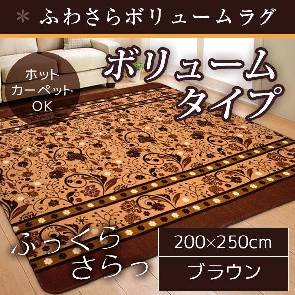 【送料無料】ボリューム ラグマット/絨毯 【200cm×250cm 長方形 ブラウン】 ホットカーペット/床暖房可 『サラサボリュームラグ』