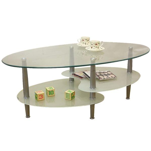 【送料無料】強化ガラステーブル(ローテーブル) 高さ43cm スチール脚 棚収納/アジャスター付き ホワイト(白)【代引不可】