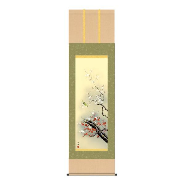【春掛軸】【梅掛軸】春の訪れを祝う ■田村 竹世 (尺三)掛軸 「紅白梅に鶯」