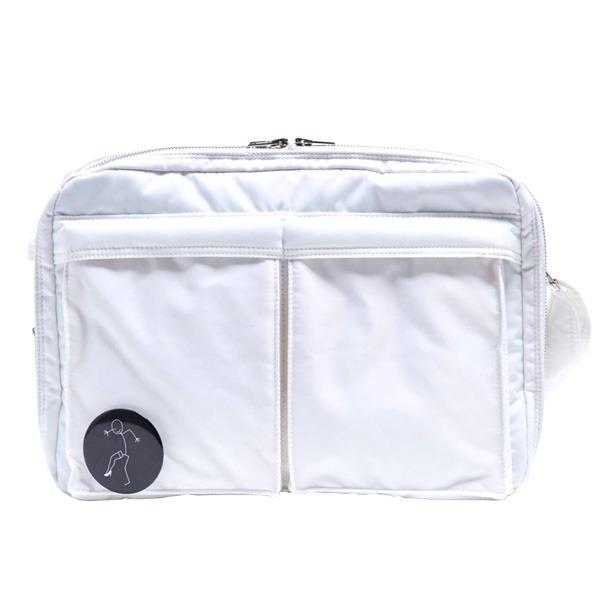【送料無料】斜めかけにぴったり♪ポケットいっぱいのビジネスバッグ仕様のバッグ/アイボリー