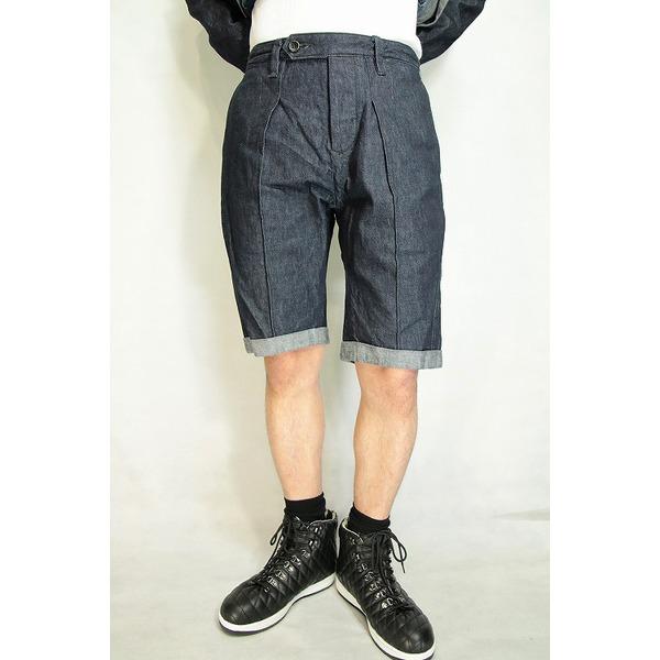 【送料無料】VADEL intuck trousers shorts INDIGO COMB サイズ46【代引不可】