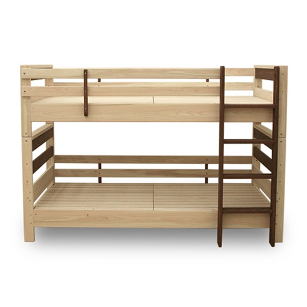 【送料無料】ヒノキ材 国産2段ベッド シングル使用可 (フレームのみ) ナチュラル 『KOTOKA』 日本製 ベッドフレーム【代引不可】