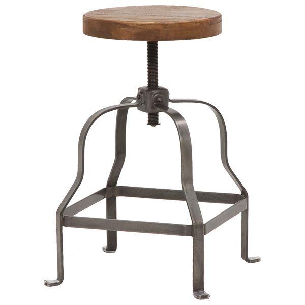 【送料無料】スツール(回転昇降式チェア/丸椅子) 木製×スチールパイプ 座面高調節可 リベルタシリーズ【代引不可】