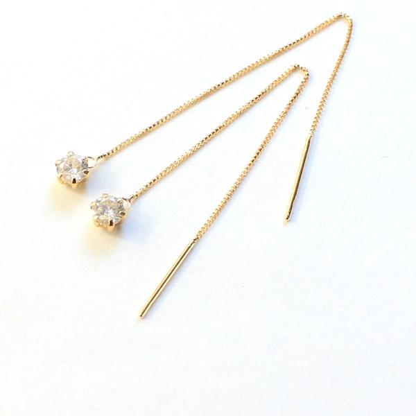【送料無料】k18 イエローゴールド ダイヤモンド 0.3ct アメリカン チェーンピアス【代引不可】