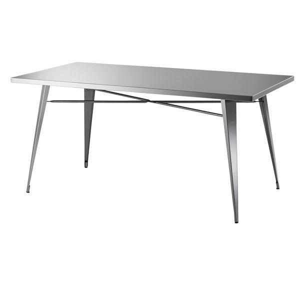 【送料無料】ステンレス製ダイニングテーブル/リビングテーブル 【幅151cm】 STN-334 〔ディスプレイ家具 什器〕