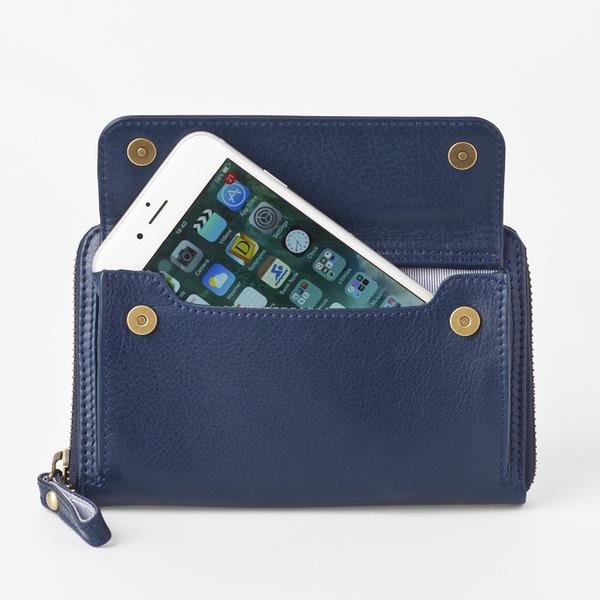 【送料無料】[スモールタイプ・マリンブルー] スマホ入れ、お財布になるスマホウォレット iPhone5/6など小さいスマホ向け / スイス発カーフレザー多機能お財布