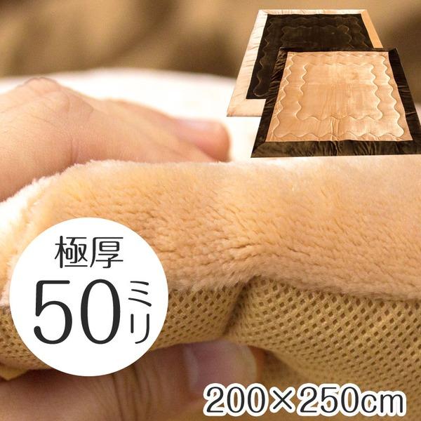 極厚 ふっくら ボリューム ラグ カーペット 厚手 5cm 200×250cm 長方形 ブラウン 床暖房対応 防音 九装