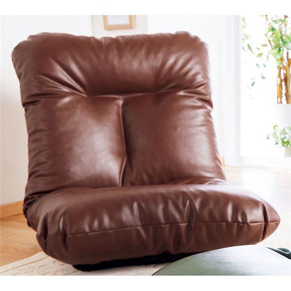 【送料無料】ボリューム 座椅子/フロアソファー 【同色2脚組 ブラウン】 幅70cm 日本製 無段階リクライニング 〔リビング〕