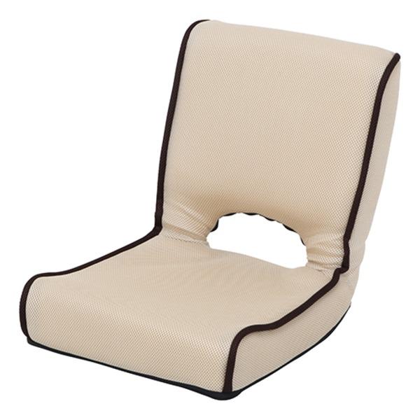 【送料無料】低反発 座椅子/パーソナルチェア 【アイボリー】 幅40cm 折りたたみ 前倒れギア 『ショコラ メッシュ』 【4個セット】【代引不可】