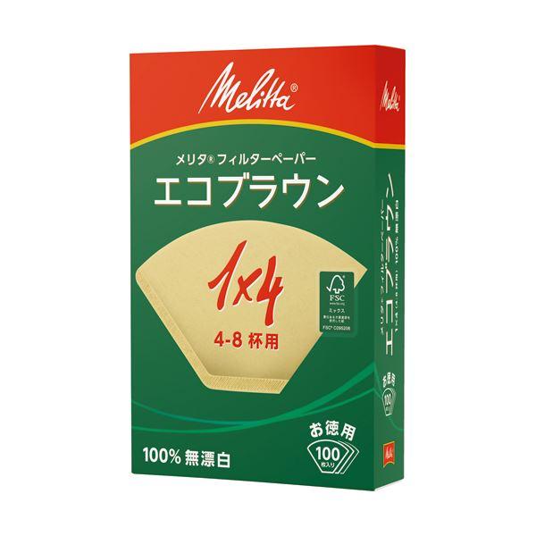 (まとめ) メリタ エコブラウン 無漂白 1×4 4~8杯用 PE-14GB 1セット(1000枚:100枚×10箱) 【×5セット】