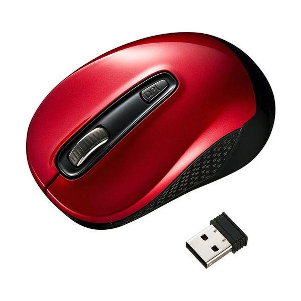 【送料無料】(まとめ) サンワサプライワイヤレスブルーLEDマウス レッド MA-WBL41R 1個 【×10セット】
