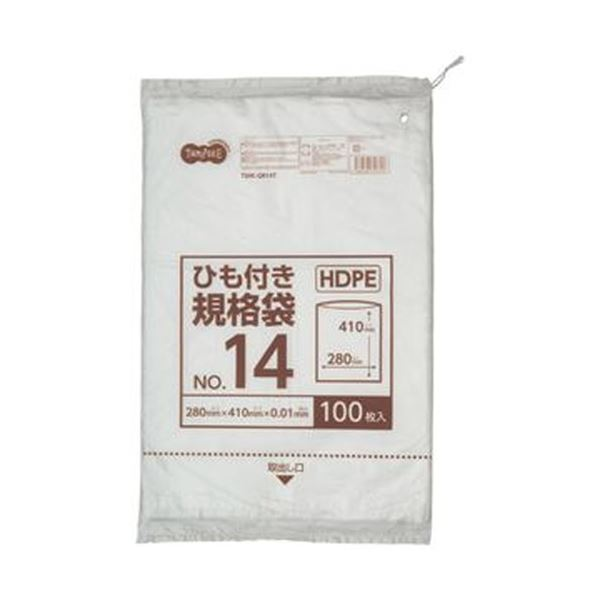 【送料無料】(まとめ)TANOSEE HDPE規格袋 紐あり14号 ヨコ280×タテ410×厚み0.01mm 1パック(100枚)【×50セット】