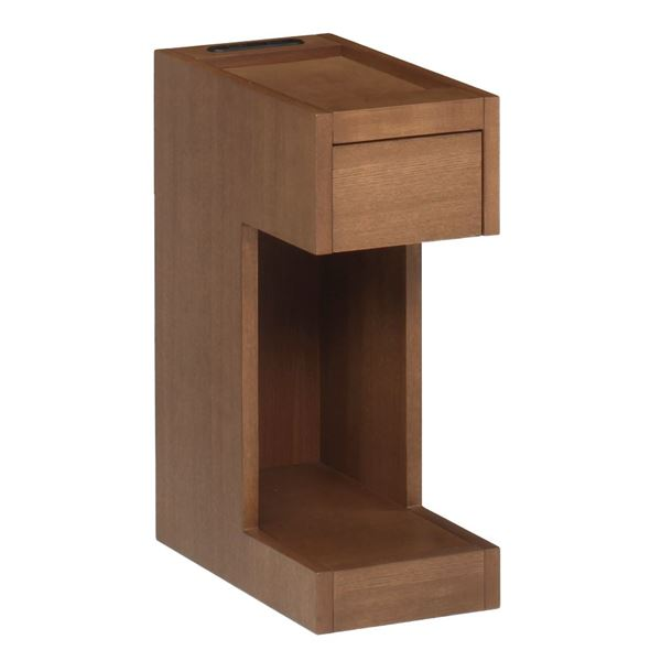 【送料無料】サイドテーブル/ミニテーブル 【ブラウン 幅20×奥行36cm】 引き出し 2口コンセント付き 『ナイトテーブル』 〔リビング〕【代引不可】