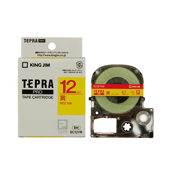 【送料無料】(まとめ) キングジム テプラ PRO テープカートリッジ パステル 12mm 黄/赤文字 SC12YR 1個 【×10セット】