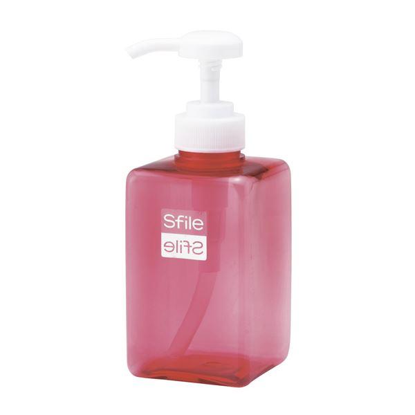 【送料無料】(まとめ) 角型 ディスペンサー/詰め替えボトル 【ピンク S 400ml】 透明 バス用品 『Sfile』 【72個セット】