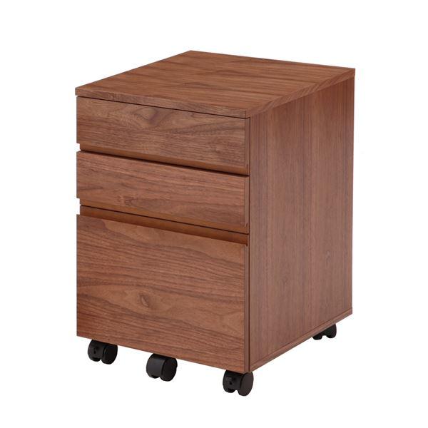 【送料無料】木目調デスクワゴン/サイドチェスト 【幅40cm】 木製 ウォールナット キャスター付き【代引不可】