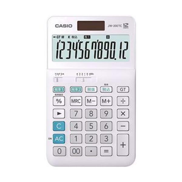 【送料無料】(まとめ)カシオ W税率電卓 12桁ジャストタイプ JW-200TC-N 1台【×5セット】