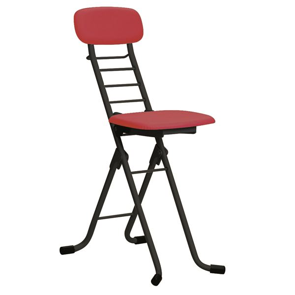【送料無料】折りたたみ椅子 【4脚セット レッド×ブラック】 幅35cm 日本製 高さ6段調節 スチールパイプ 『カラーリリィチェア』【代引不可】