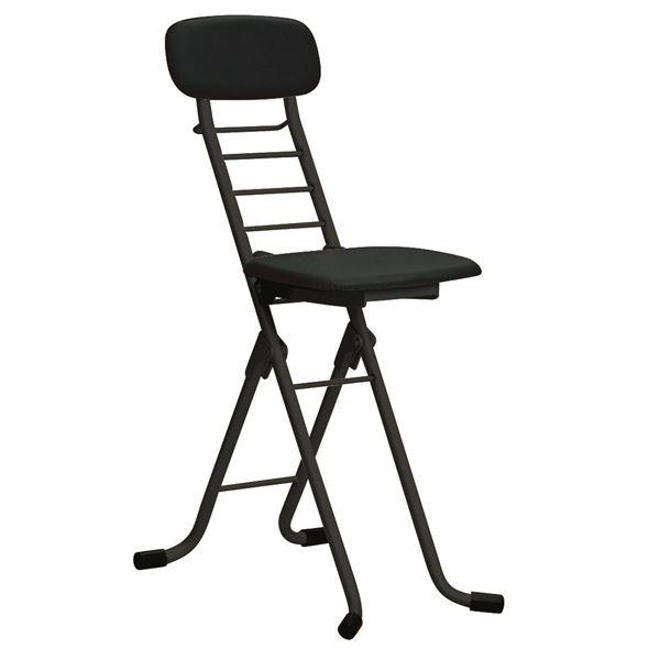 【送料無料】折りたたみ椅子 【4脚セット ブラック×ブラック】 幅35cm 日本製 高さ6段調節 スチールパイプ 『カラーリリィチェア』【代引不可】