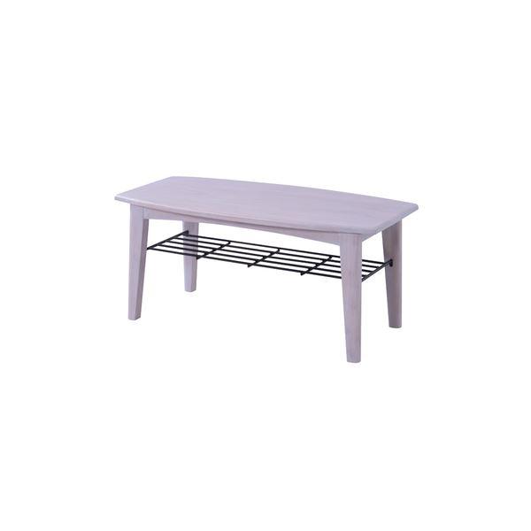 【送料無料】ローテーブル/センターテーブル 【ホワイト Sサイズ 幅90cm】 木製 棚板1枚付き 『ブリジット』 〔リビング ダイニング〕