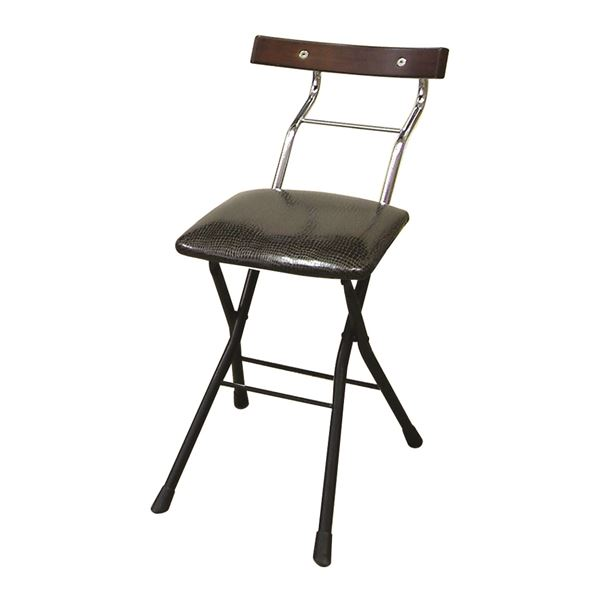 【送料無料】折りたたみ椅子 【リザードブラック×ブラック+ダークブラウン】 幅36cm 日本製 スチールパイプ 『ロイドチェア』【代引不可】