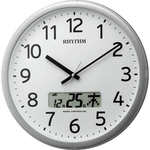 【送料無料】リズム時計 電波掛け時計 プログラムチャイム付 プログラムカレンダー01R