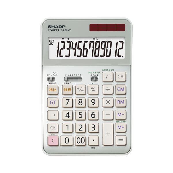 (まとめ)シャープ SHARP 実務電卓 12桁 セミデスクタイプ CS-S952-CX 1台【×3セット】
