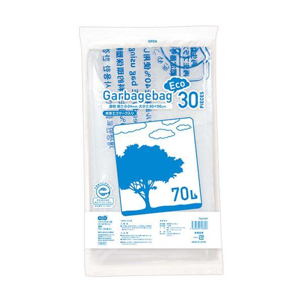 【送料無料】(まとめ)TANOSEE リサイクルポリ袋(エコデザイン)透明 70L 1パック(30枚)【×10セット】