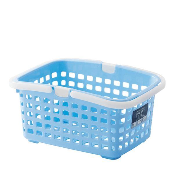 【送料無料】(まとめ) ミニライトバスケット/収納かご 【ブルー】 持ち手付き 長方形 小型 小物入れ 【36個セット】