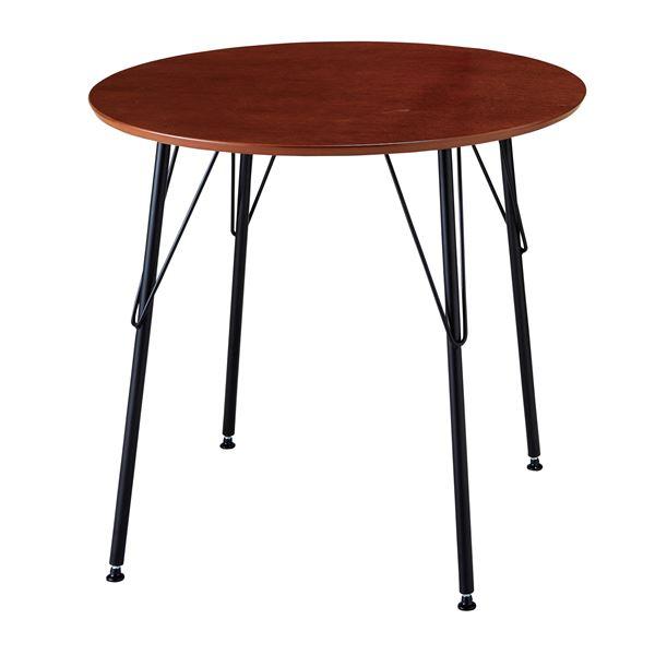 【送料無料】シンプル ダイニングテーブル/丸テーブル 【ブラウン】 幅80cm 天板:PU塗装 スチールフレーム 木目調【代引不可】
