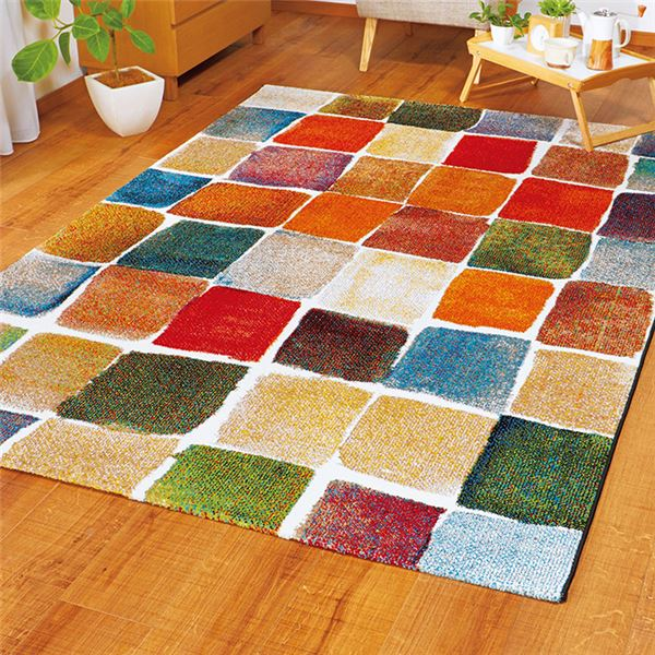 【送料無料】トルコ製 ラグマット/絨毯 【1.5畳 ブロック】 長方形 抗菌 消臭 防臭 ウィルトン織 〔リビング ダイニング〕