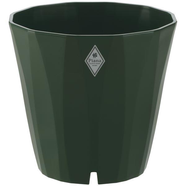 (まとめ) プラスチック製 植木鉢/ポット 【35型 ダークグリーン】 穴付き ガーデニング 園芸 『ピアーナ』 【×14個セット】