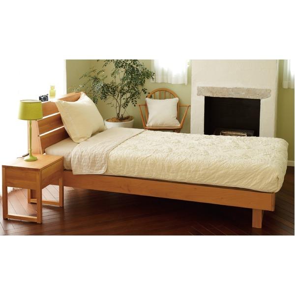 宮付き 二口コンセント付き アルダー材 すのこベッド シングル (フレームのみ) ナチュラル ベッドフレーム【代引不可】