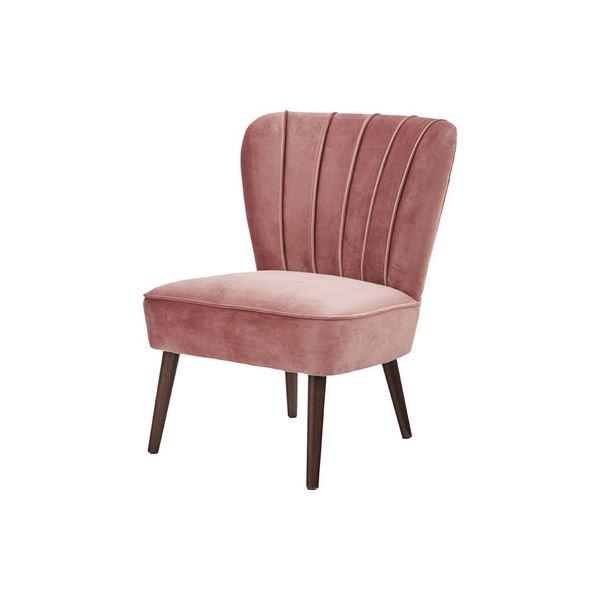 【送料無料】パーソナルチェア/リビングチェア 【ピンク】 幅62.5cm 木製 ウィービングベルト ウレタン塗装 『ビューグ』 〔寝室 店舗〕