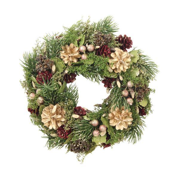 【送料無料】(まとめ)函館クリスマスファクトリーナチュラルローズ&ボールリース グリーン 24cm 1個【×5セット】