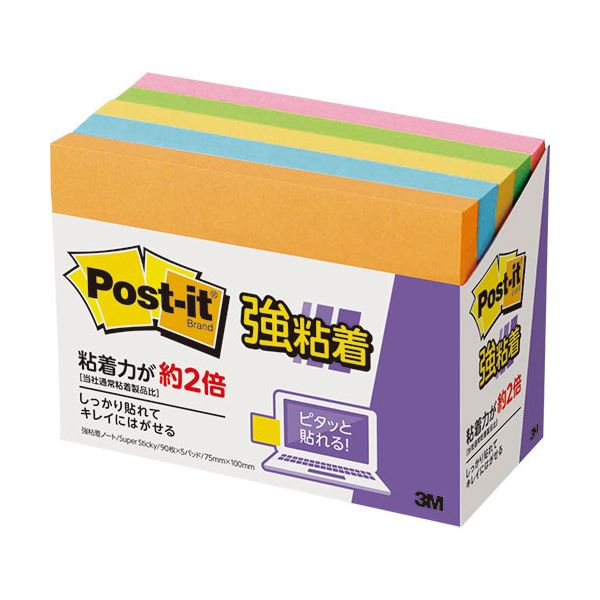(まとめ) 3M ポストイット 強粘着ノート 75×100mm ネオンカラー5色 657-5SSAN 1パック(5冊) 【×10セット】
