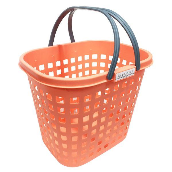 【送料無料】(まとめ) シャインバスケット/収納かご 【オレンジ L 深型】 広口 つや消し プラスチック製 洗濯かご 脱衣かご 【20個セット】
