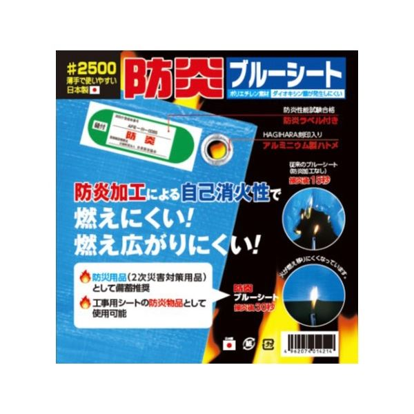 (まとめ)萩原工業 防炎ブルーシート#2500 3.6mX5.4m(×10セット)