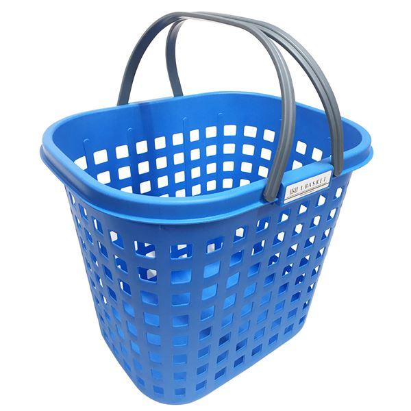 【送料無料】(まとめ) シャインバスケット/収納かご 【ブルー L 深型】 広口 つや消し プラスチック製 洗濯かご 脱衣かご 【20個セット】