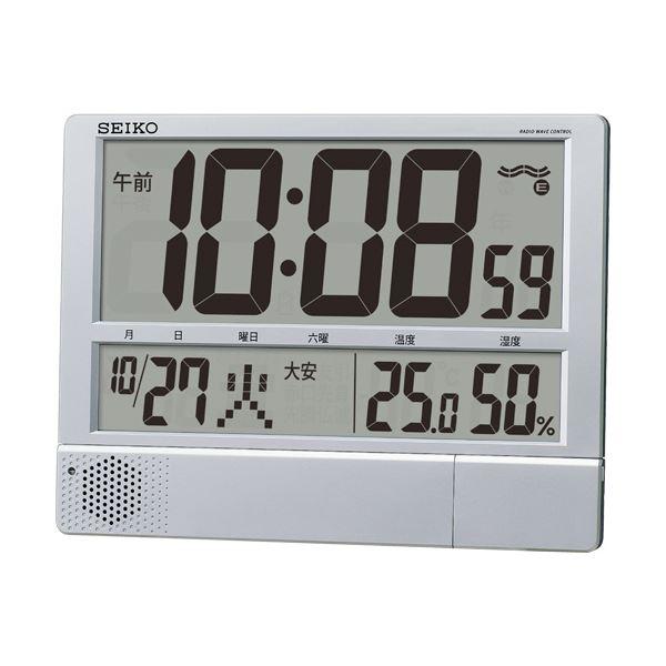 【送料無料】セイコークロック プログラム電波時計温湿度表示付 掛置兼用 SQ434S 1台