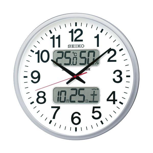 【送料無料】セイコークロック 電波掛時計オフィスタイプ カレンダー・温度湿度表示付 KX237S 1台