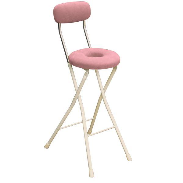 【送料無料】円座 折りたたみ椅子 【4脚セット ピンク×ミルキーホワイト】 幅36cm 日本製 スチール 『スイーツチェア ドーナツハイ』【代引不可】