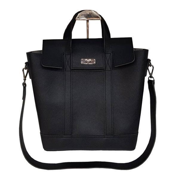 【送料無料】くったり柔らか素材♪スタイリッシュな薄型ビジネスハンドバッグ/ブラック