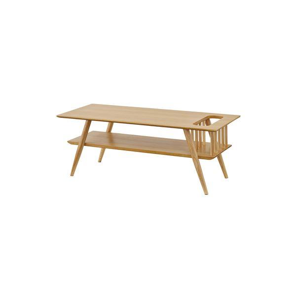 【送料無料】棚付き ローテーブル/センターテーブル 【ナチュラル 幅105cm】 長方形 木製 〔リビング 店舗 飲食店〕