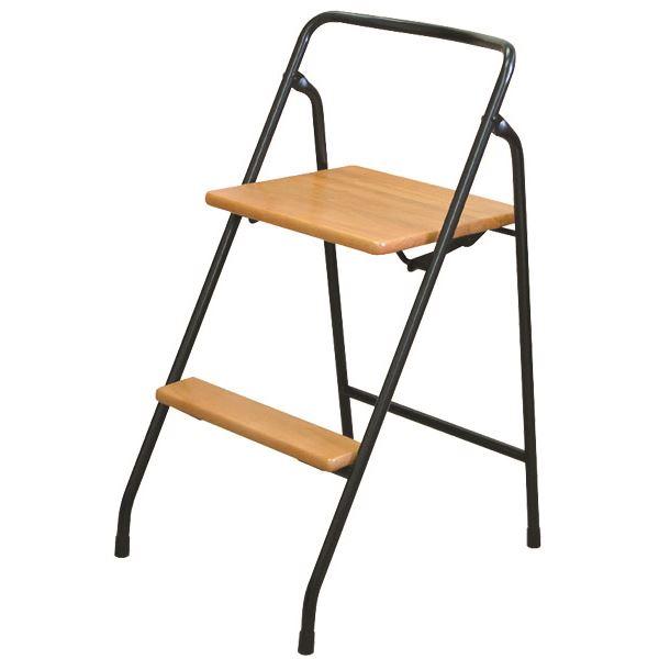 【送料無料】折りたたみ椅子/踏み台 【ナチュラル×ブラック】 幅43cm 日本製 スチールパイプ 『ハイステップチェア』【代引不可】