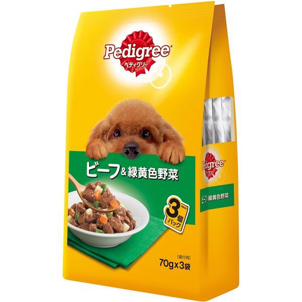 【送料無料】(まとめ)ペディグリー 成犬用 ビーフ&緑黄色野菜 70g×3袋【×48セット】【ペット用品・犬用フード】