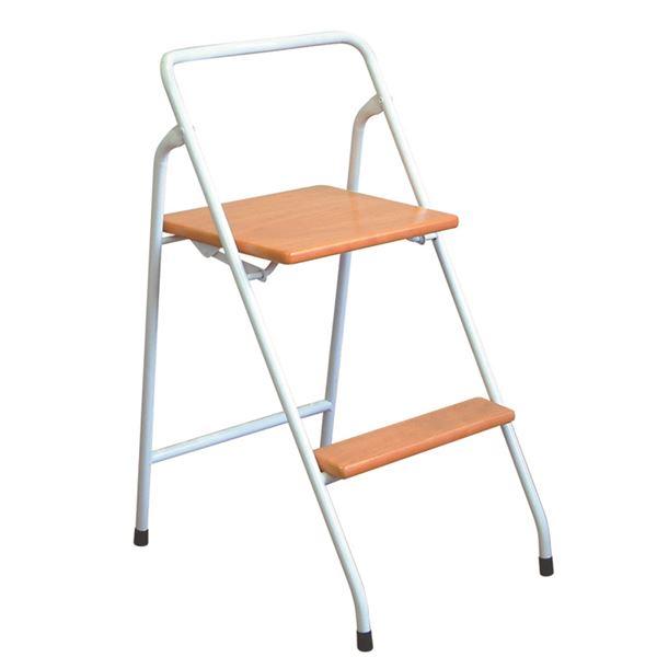 【送料無料】折りたたみ椅子/踏み台 【ナチュラル×ホワイト】 幅43cm 日本製 スチールパイプ 『ハイステップチェア』【代引不可】